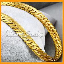 18K GOLD GF N58 DIAMOND CUT CHUNKY WHEAT CHAIN MENS WOMENS SOLID NECKLACE 55CM