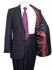 Men's Navy Two Button Business Notch Lapel Windowpane Glen Plaid Modern Fit Suit