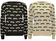 New Ladies Moustache Print Winter Knit wear Sweat Shirt Jumper Tops 8-14