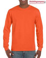 arancione adulto GILDAN manica lunga ULTRA COTONE t-shirt-mens MAGLIA S M L XL