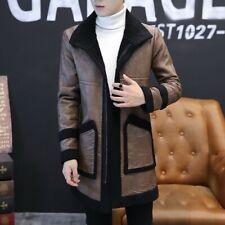 Men Winter Fur Collar Hooded Cashmere Lamb Sueded Fleece Overcoat Jacket Outwear