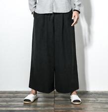 Mens Palazzo Pants Loose Pants Casual Samurai Trousers Cotton Linen Wide Leg T70