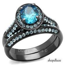 Women's Stainless Steel Halo Oval Cut Aqua CZ Wedding Ring Set Size 5,6,7,8,9,10