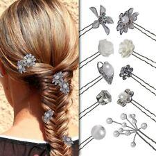 Haarschmuck Nadeln Frisur Hochzeit Set Curlie Blume Perle Strass Haarspange Weiß