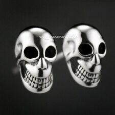 925 Sterling Silver Smile Skull Mens Biker Gothic Earring Punk Jewellery 8M007D