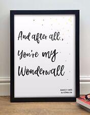 """Oasis """"You're My Wonderwall"""" Personnalisé Encadré Chansons Paroles Imprimé A4 A3"""