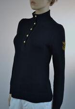 Ralph Lauren Nautical Black Half-Button Pullover Sweater Gold Emblem Crest- NWT