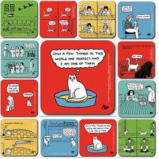 Cat Joke Drinks Coaster - Rupert Fawcett Made in UK Funny Cat Owner Filler Gift