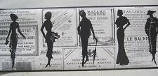 "WOMEN'S FASHION SILOUETTE BLACK & WHITE Wallpaper Border 9"""