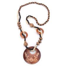 Bohemian Vintage Style Natural Wood Pendant Charm Long Bead Necklace Women