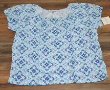 Croft & Barrow Smocked Top Blue Diamond Scoop Neck with Elastic Sleeve Hem