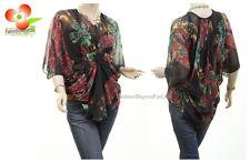 Victorian Renaissance Silk Batwing Chiffon Sheer Cinch Black Blouse Shirt Top
