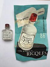 Flacon Bijoux Alcool De Menthe RICQLÈS 86 Degrés  Avec Notice D'origine