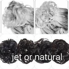 Koko cheveux chouchou naturel ou jet black Large Pour Chignon Coiffure Ondulé ou Frisé Grand