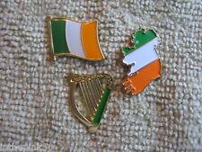 "Set Irish Harp Ireland Map & Flag ""Official Irishman"" St Patricks Day 3Pc Pin"