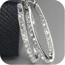 925 Silver Crystal Rhinestone Hoop Dangle Earring Women Shiny Fashion Wedding