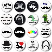 "MOUSTACHES (Various Designs) - 1"" / 25mm Button Badge - Novelty Cute"