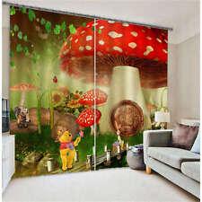 Winnie Mushroom House 3D Blockout Photo Printing Curtains Draps Fabric Window