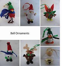 Bell Ornaments - Handmade - Angel Santa Snowman Turkey Reindeer Penguin