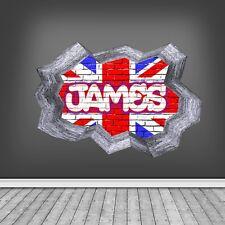 3D Union Jack nom personnalisable Autocollant Mural Art Graffiti fissuré