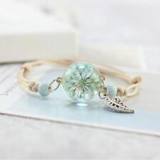Boho Vintage Charm Bracelet Handmade Real Dry Flower Glass Ball Jewelry H
