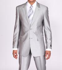 New Men's 2 piece Slim Fit Luxurious Wool Feel Suit 2 Button Silver Size 38R-60L