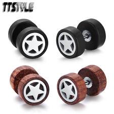 TTStyle 10mm Surgical steel Star Round Wood Earrings Black/Deep Wood NEW