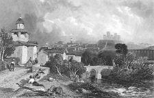 Italy SPOLETO CASTLE ROCCA ALBORNOZIANA FORTRESS ~ Old 1832 Art Print Engraving