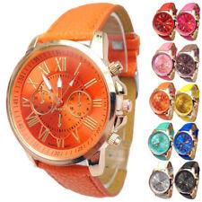 Damen Armbanduhr Lederarmband Uhr Römische Zahlen Große Anzeige Metallic Design