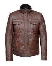 Men Leather Jacket Brown Antique Casual Vintage Soft Genuine Leather Jacket 1501