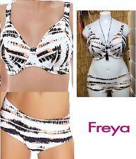 FREYA CASTAWAY U/W PADDED BIKINI BRA+MATCHING-SHORT-FRILL/HIPSTER-PANT-SET-WHITE