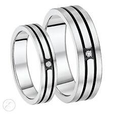 His & Hers 5&7mm Titanium Three Diamond Black Grooved Wedding Ring Set