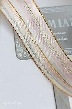(0,70€/m) Dekoband CAMBRIDGE rosa silber gold Draht 25mm Drahtband Taft 3m 5m