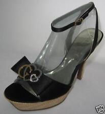 GUESS Satin Escarpins Chaussures Sandales Noir Logo 39