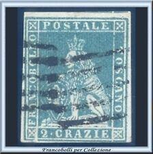 ASI 1851 Toscana 2 crazie azzurro verdastro su grigio n. 5e Usato Antichi Stati