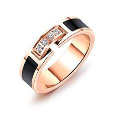 5MM Black Enamel Titanium Steel Band Women's 18K Rose Gold AAA CZ Ring Size 5-9