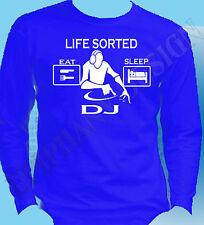 DJ T-Shirt Long Sleeve Life Sorted Eat Sleep Disco Rave Party Mobile Music Gift