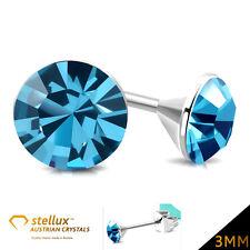STELLUX™ AUSTRÍACO CRYSTALS Pendiente de botón azul aguamarina 3mm 1 Par ees175