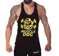 Muscle Dog Singlet Tank Top Vest Bodybuilding Gold's Gym Stringer Shirt M L XL
