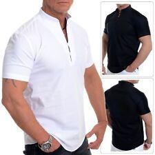 Men's Henley Short Sleeve Shirt Smart Grandad Collar Loops Cotton White Black