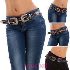 Cinturón de mujer occidental vaquero doble hebilla tachuelas ecopiel ZSP-17228
