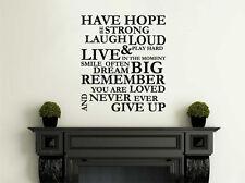 """Parete citazione """"avere speranza, Sii forte..."""" Wall Art Decalcomania in Vinile Adesivo,, trasferimento."""