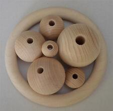 Holzkugeln, Holzperlen 20 mm Ø, mit Bohrung, Buche unlackiert