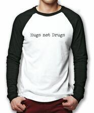 Hugs Not Drugs Baseball Top - Funny Hipster Base Ball Tee Mens Shirt