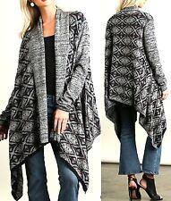Umgee Top Size S M L Drape Cardigan Western Fringe Boho Womens Sweater Duster