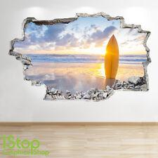 SURFING SUNSET WALL STICKER 3D LOOK - OCEAN SEA PARADISE BEACH BEDROOM Z83