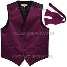 New Men's Formal Vest Tuxedo Waistcoat with free style self-tie Bowtie eggplant