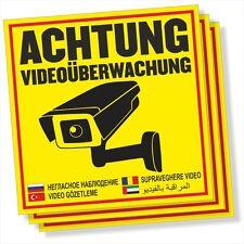 3x ACHTUNG! Videoüberwachung Aufkleber, Hinweisschild 4 versch Sprachen DRU 0183