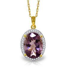 Natural Purple Amethyst Oval Gemstone & Diamonds Pendant Necklace 14K Solid Gold