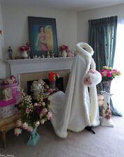 Wedding Cloaks Bridal Kids Shawls Winter Long Faux Fur Trim  Flower Girls Cape